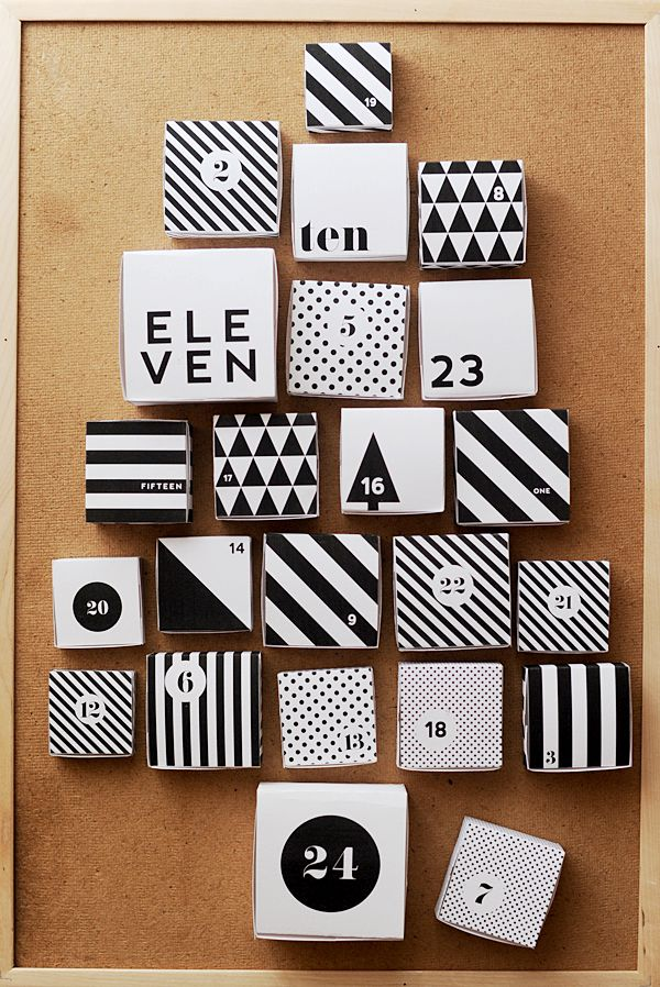 black and white advent calendar boxes - free printables