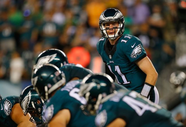 Comparing Carson Wentz, above, to Peyton Manning? Philadelphia Eagles head coach Doug Pederson just went there (Getty Images)