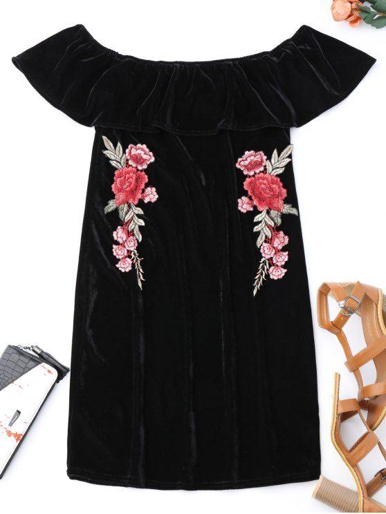 Off Shoulder Ruffle Floral Bodycon Dress - BLACK XL