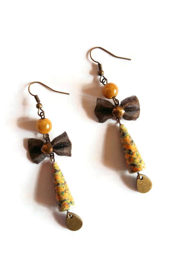Boucles d'oreilles Noeuds Tissus - Perles en Papier - Perles Magiques - Jaunes Moutardes Ocres Bronzes : Boucles d'oreille par cap-and-pap