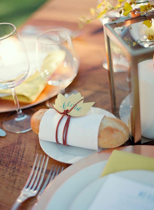 bread place card, photo by Bret Cole http://ruffledblog.com/lake-tahoe-wedding-inspiration #weddingideas #namecards #placecards