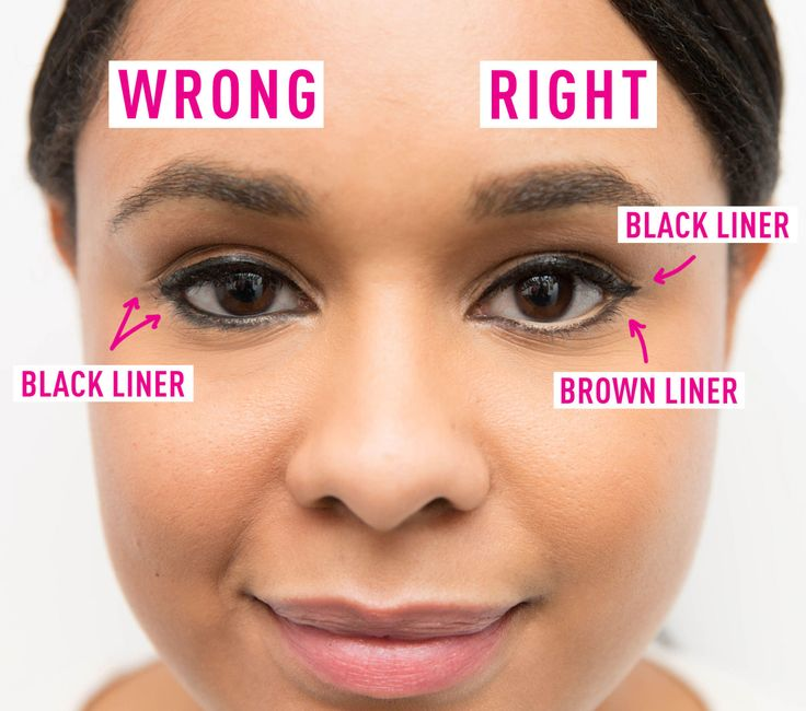 Don't line the bottom and water line with black eyeliner, it will make your eyes look smaller. Instead, line the top with black, bottom with brown, and the waterline with white eyeliner