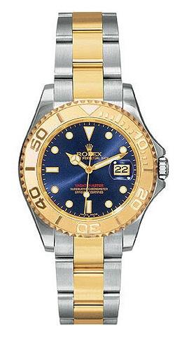 Rolex Yachtmaster Blue Index Dial Oyster Bracelet Two Tone Unisex Watch  $8692.00  #RolexYachtmaster #LuxuryWatchesForWomen