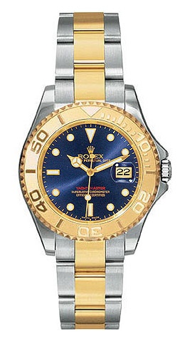 Rolex Yachtmaster Blue Index Dial Oyster Bracelet Two Tone Unisex Watch  $8692.00  #RolexYachtmaster #LuxuryWatchesForWomen