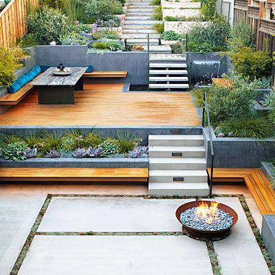 Turn an uneven slope into California-style outdoor space for grilling, entertaining, and gardening.