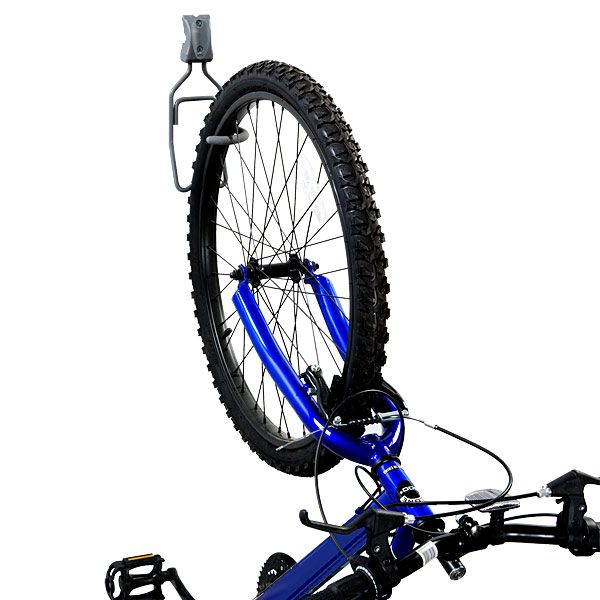 Use our elfa utility Vertical Bike Hook to store your bike in a garage or utility room.  It securely holds one bike (up to 50 lbs.) by the front or rear tire to help save space.  It can be mounted directly to a wall stud or used in conjunction with an elfa Track.