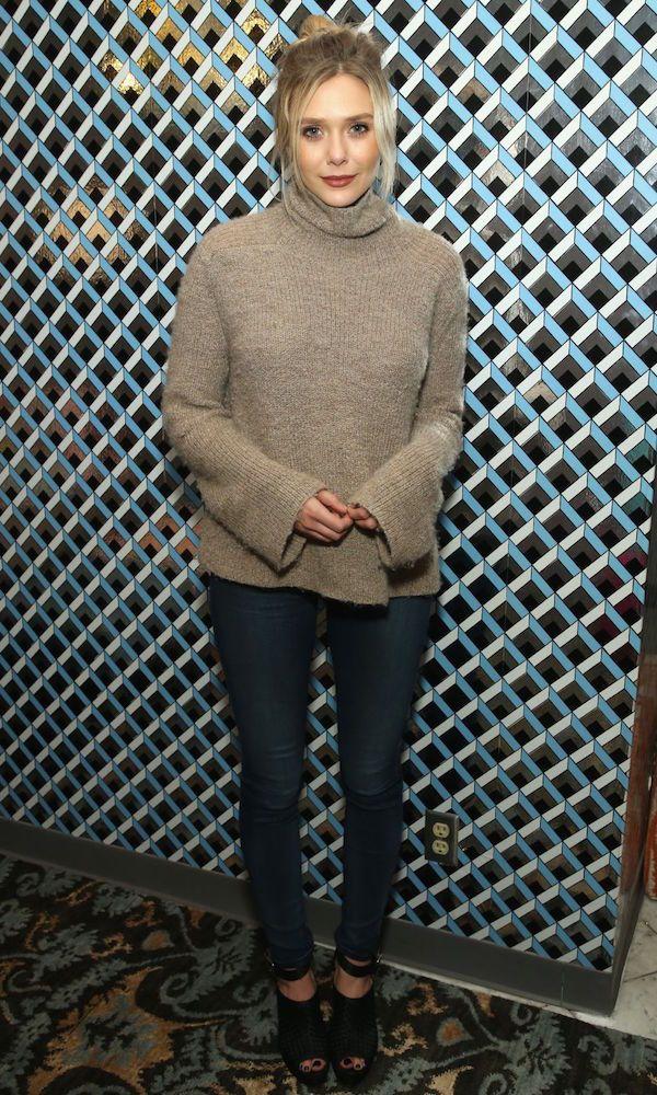 Elizabeth Olsen // updo, turtleneck sweater, skinny jeans and platform sandals #style #fashion #fall