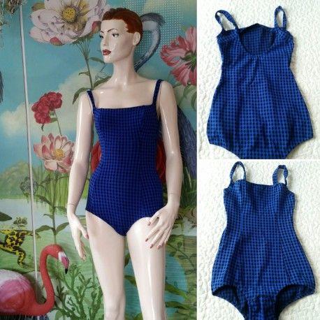 Vintage baddräkt blå-svart rutig 60-tal