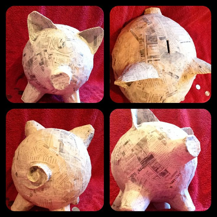 "Home made piggy bank. So much fun to make.  Great way to save up some cash. Blow up a balloon and add a layer of paper meche. Let that layer dry and reapply until the thickness of the meche makes it hard enough that it doesn't ""bend ""  when you squeeze it. Add ears a nose and a tail ( I used small paper cups ) and add paper meche around that until it doesn't "" squish"". Cut the slot with an exacto knife ( works the best). Use tweezers to get the balloon out. Then you have a homemade piggy…"