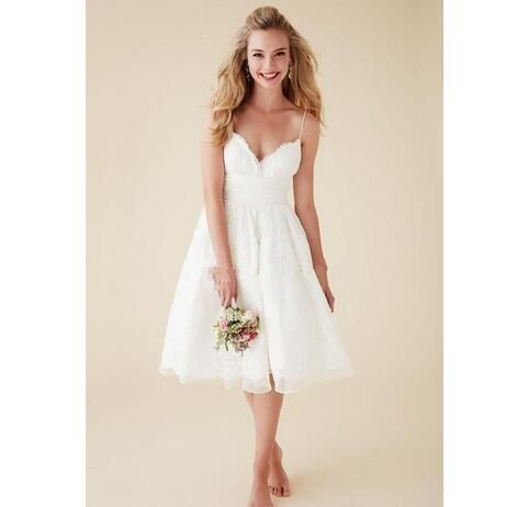 2019 Cute Short Beach Wedding Dresses V Neck Spaghetti Straps Knee Length Sexy Backless Wedding Gowns White Lace Bridal Dresses