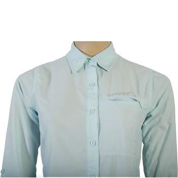 Camisa de Mujer SR-8021  Camisa de mujer confeccionada en tela supplex, secado rápido, con protección UV. Posee un bolsillo en el frente con cierre invisible. Tiene ventilación en la espalda y tiras en la parte interna de las mangas para poder arremangarlas.
