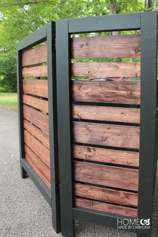 Garbage Can Privacy Screen - plans also at https://www.buildsomething.com/plans/P7768AED53C31CCA0/ModernStyledPrivacyScreen