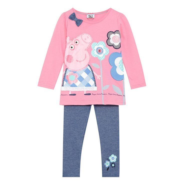 Cheap chica de moda suéter pantalones 3~7age peppa pig invierno manga larga de algodón niñas ropa niños rosa shij213 amor, Compro Calidad Conjuntos de Ropa directamente de los surtidores de China:  &nbsp