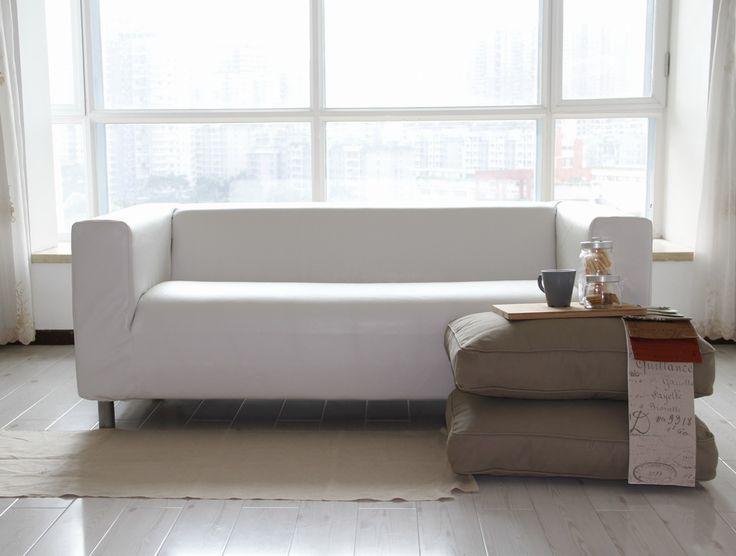 Modern Sofa Custom IKEA Klippan seater Sofa Cover in Modena White Bycast Leather
