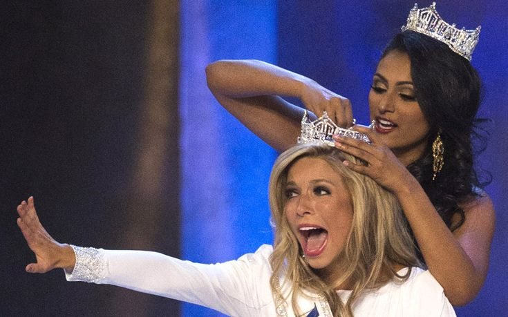 Miss New York Kira Kazantsev (front) reacts as she is crowned the winner of the 2015 Miss America Competition by Miss America 2014 Nina Davuluri in Atlantic City, New Jersey