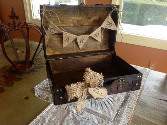 Rustic Wedding Card Box With Burlap Banner by ladedadesign on Etsy, $45.99