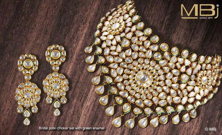 Dazzling Bridal polki choker set with green enamel. #MBj #Luxury #Desirable #Glamour #Jewellery #Green #Choker #Polki #Dazzling #MustHave #Fashion #Enamel