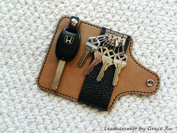 100% hand stitched handmade plain black cowhide leather key purse / holder / case