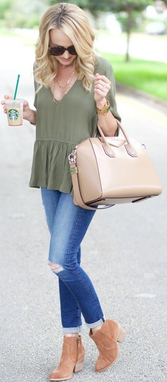 #fall #trending #outfits | Olive Green Peplum + Denim