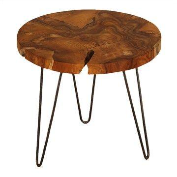 Top Root Teak Iron Leg Sofa Table - 55cm