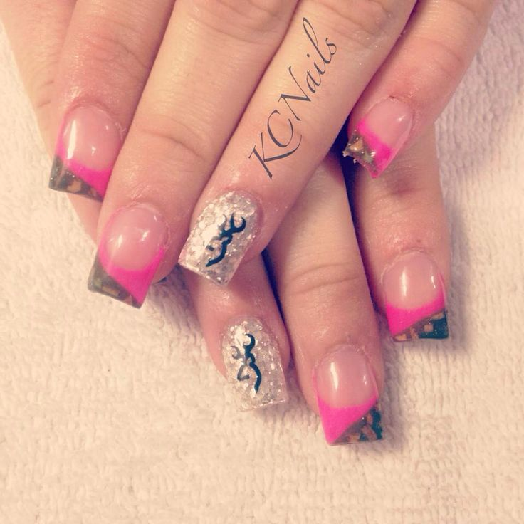 Browning for the bride-to-be. Camo and hot pink french tip acrylic nails.  Silver accent nail with black browning decal. I'd do teal instead of pink - 72 Best Beauty Acrylic Nails Images On Pinterest Make Up