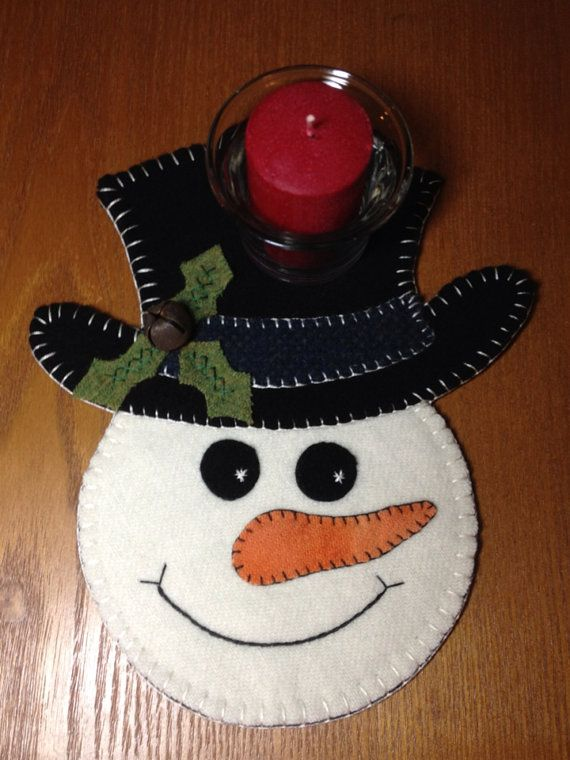 Primitive Wool Penny Rug Votive Candle Mat by MaggysPennies, $20.00