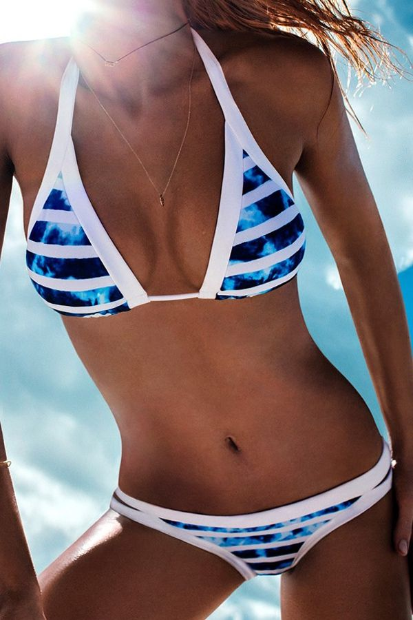 Halter Color Block Tie-Up Bikini Set