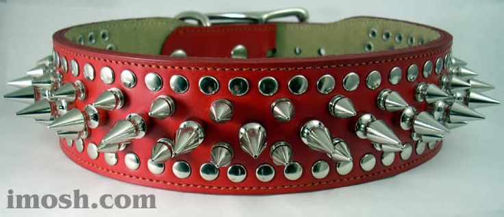Red Leather Spiked Dog Collars Red