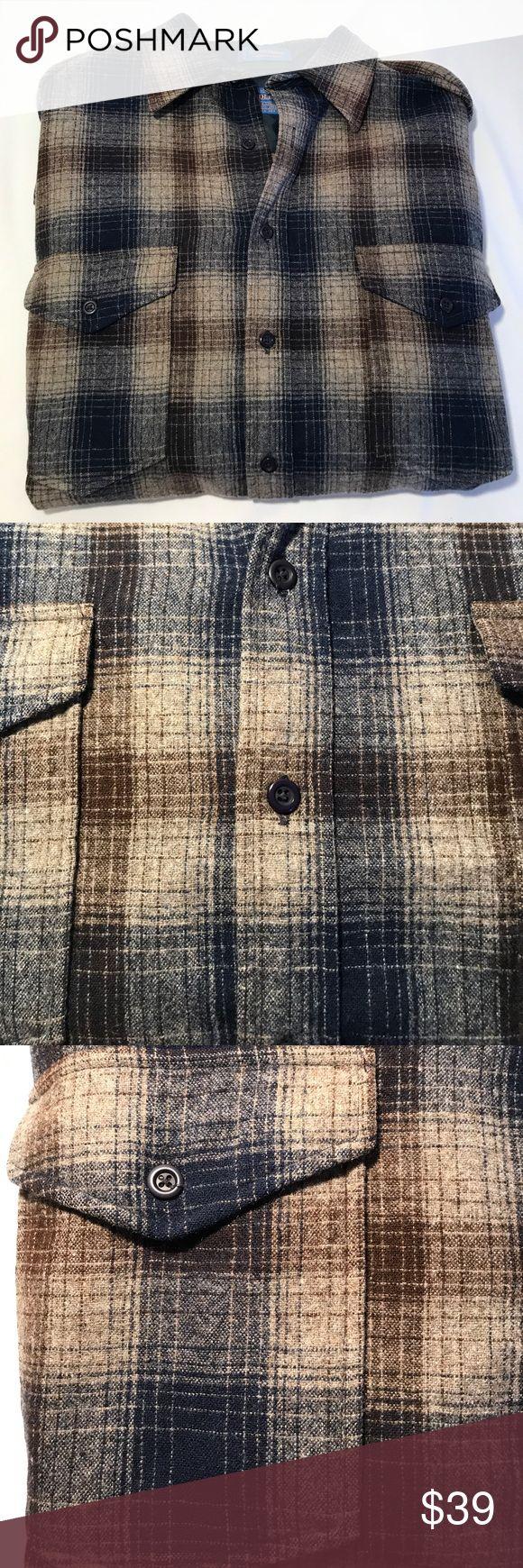 Pendleton Outdoorsman 100% Wool Men's L Blue/Brown In great shape. 100% wool USA made! Pendleton Shirts Casual Button Down Shirts