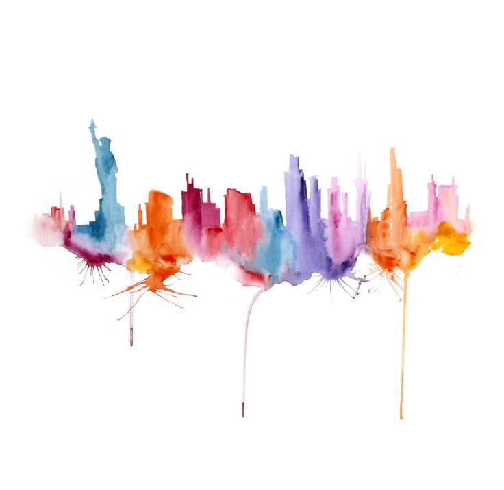 Watercolor New York: New York Painting Watercolor Abstract 13x19