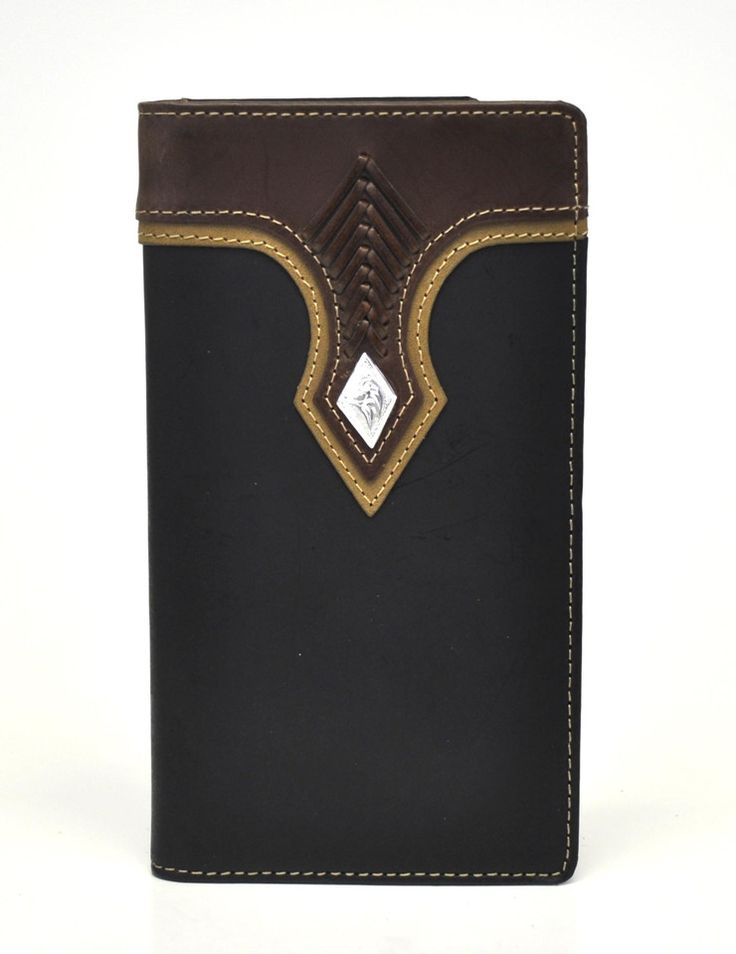 Nocona Top Hand Rodeo Genuine Leather Western Men's Checkbook Wallet w/Concho-Black N5453401