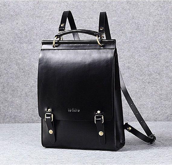 Leather backpack women leather laptop bag leather minimalist shoulder bag school…