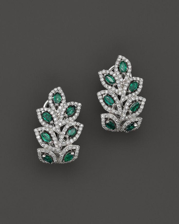 Emerald and Diamond Leaf Post Earrings in 14K White Gold | Bloomingdale's