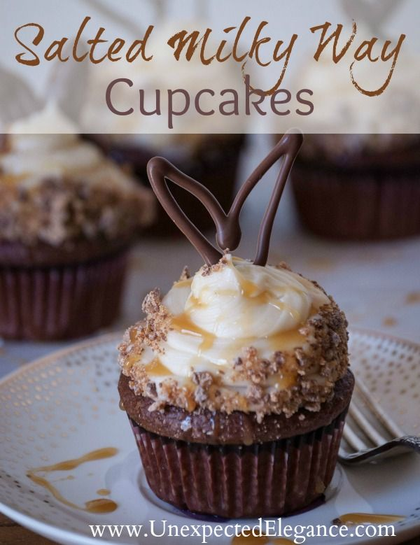 Salted Milky Way Cupcakes with Chocolate Bunny Ears.  These are absolutely DELICIOUS!!!!! #EatMoreBites #cBias #shop