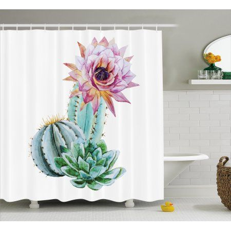 Free Shipping. Buy Cactus Decor Shower Curtain, Cactus Spikes Flower in Hot Mexican Desert Sand Botanic Natural Image, Fabric Bathroom Set with Hooks, 69W X 70L Inches, Pink Green and Blue, by Ambesonne at Walmart.com