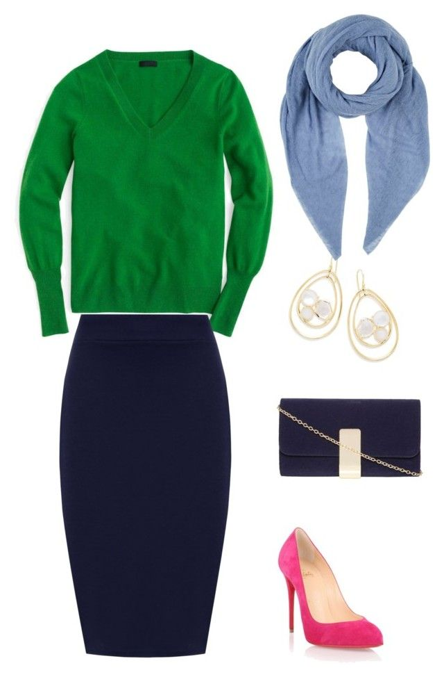 """Green+pink+blue"" by sofya-2 on Polyvore featuring J.Crew, Christian Louboutin, WearAll, Dorothy Perkins, Ippolita, Botto Giuseppe and plus size clothing"