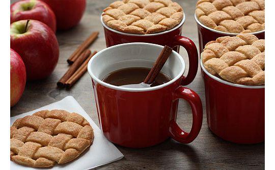Pie dough lattice cookies to top mugs of cider...so cute!
