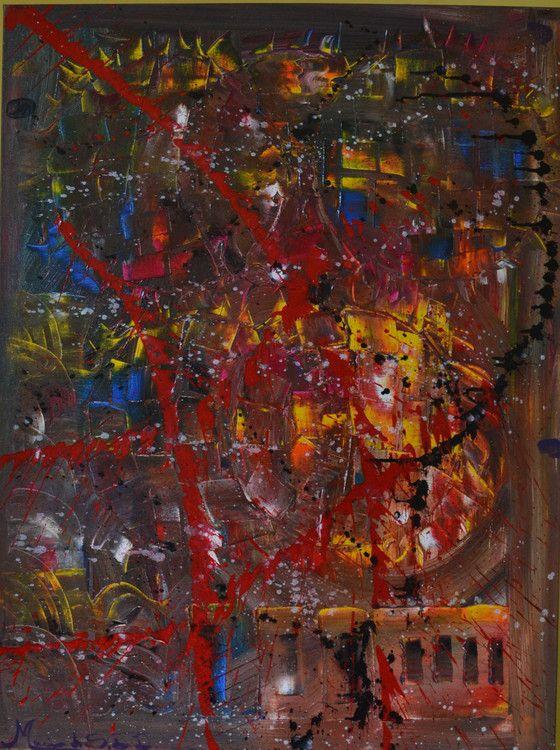 Chromotherapy Modern Abstract Acrylic Painting - Volcano (Painting),  3x60x80 cm por Maria do S.B.D  Auxilia no tratamento  da hiperatividade agressiva, estabilizando os nervos e induzindo a um estado de alegria e satisfação pessoal Vulcan Painel 60x80 Acrílica sobre tela Espatulado e pincel Duas demãos de verniz total Abstrato contemporâneo Cores e formas – cromoterapia Autora: maria do s.b.d Ano 2013 Florianópolis s. Catarina- brazil.
