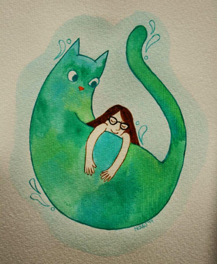Giant cat watercolor by Luna Oteíza (Nalú)