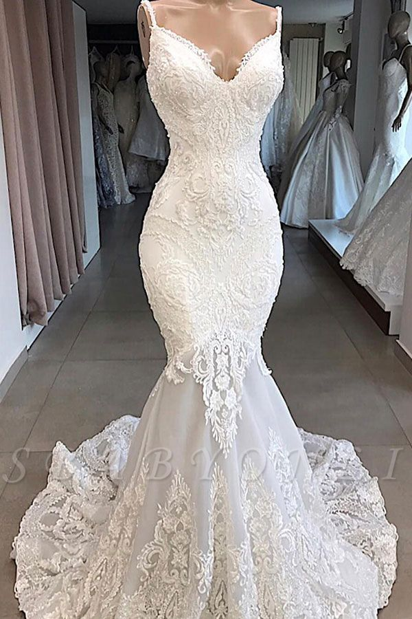 Spaghetti Straps Sweetheart Lace Mermaid Wedding Dresses Trumpet Style Bridal Gowns In 2020 Wedding Gowns Mermaid Fit And Flare Wedding Dress Lace Mermaid Wedding Dress