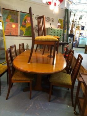 Mid Century G Plan Dining Table And Ten Chairs Has 18 Pop Up Butterfly