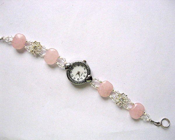 Bratara ceas cu cuart roz si cristale, bijuterie bratara femei - idei cadouri femei