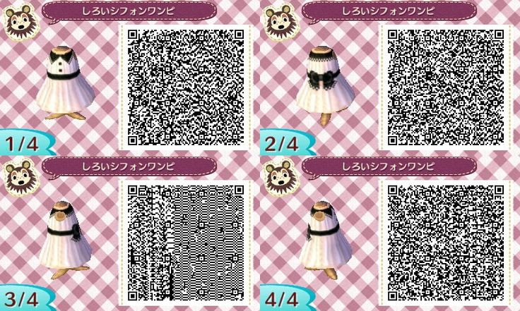 Animal Crossing New Leaf QR codes - plain white dress with black ribbon, buttons, and tie