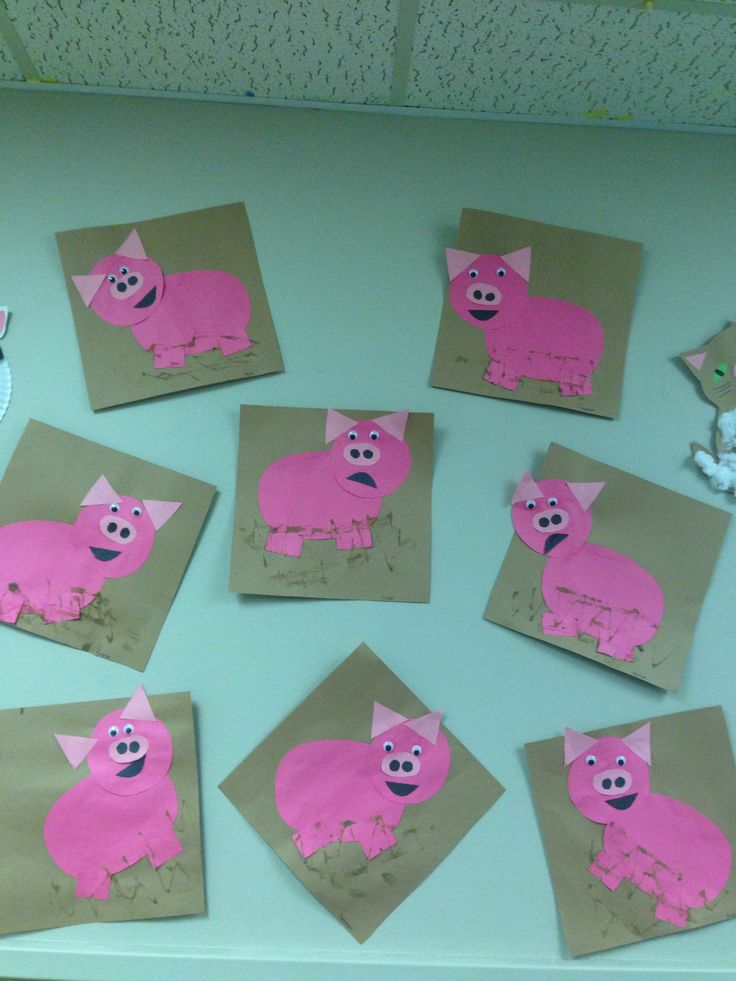 Muddy pigs farm animal craft week for preschooler classroom. just cut out shapes let kids glue down when finish add a little more glue at bottom and let kids rub dirt on it kids will love this messy craft