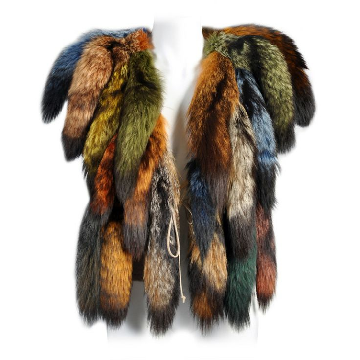 Don Kline Rainbow Fox Tail Vest | From a collection of rare vintage coats and outerwear at http://www.1stdibs.com/fashion/clothing/coats-outerwear/