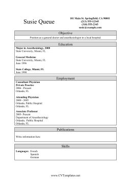 This Medical CV Template (A4) emphasizes education and degrees over employment, so it is great for doctors, nurses and anesthesiologists who want to highlight their credentials when seeking employment in clinics, hospitals and offices. Free to download and print