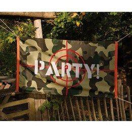 Gevelvlag Camouflage Party -  Een gevelvlag bedrukt in leger camouflage stijl. Afmeting: 90 x 150cm. Perfect voor leger themafeesten.   www.feestartikelen.nl