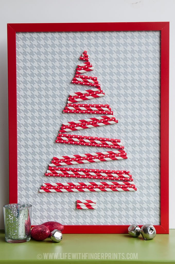 Life with Fingerprints: Cheap and easy Christmas craft using paper straws and an Ikea frame