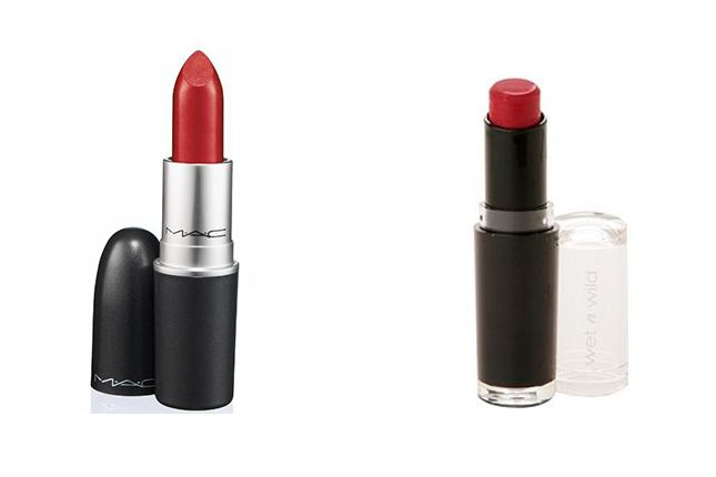 MAC Lipstick, Ruby Woo ($16) vs. Wet 'N Wild MegaLast Lip Color, Stoplight Red ($2):