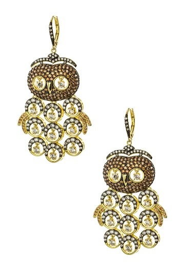 {Two-Tone Multicolor CZ Owl Earrings} Kenneth Jay Lane - blinged out owls!